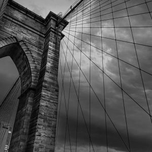 Brooklyn Bridge at night, NYC. Black and White