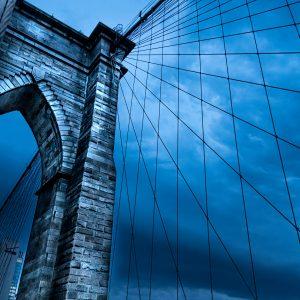 Brooklyn Bridge at night, NYC.