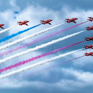 British Royal Air Force, Red Arrows in Hawk T1 Aircraft, International Air Show, Stewart Air Base, NY (Digital Download)