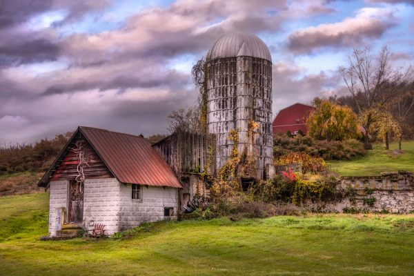Rustic Old Silo on a Cloudy Day