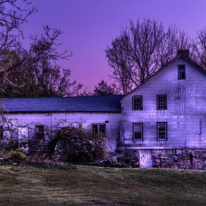 Rustic Home and Barn During Sunset (Purple Haze)