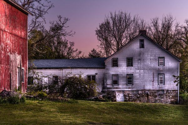 Rustic Home and Barn During Sunset (Version 2)