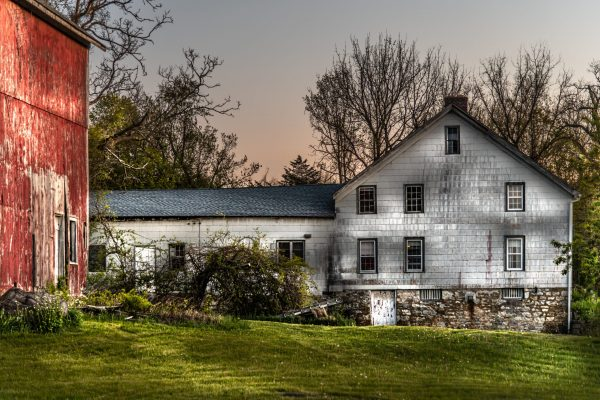 Rustic Home and Barn During Sunset (Version 4)