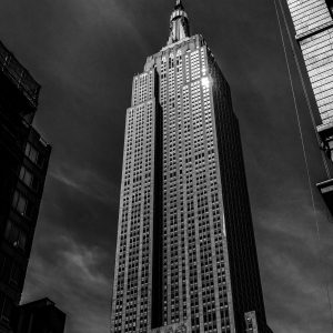 Empire State Building, Black & White, NYC at night.