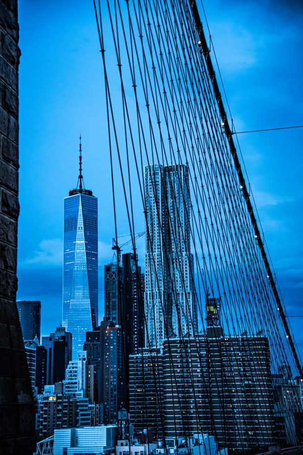 Freedom Tower and NYC Skyline at night shot from the Brooklyn Bridge,
