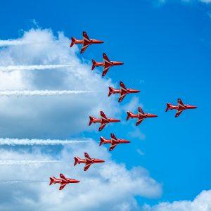British Royal Airforce Red Arrows in Hawk T1 AircraftInternational Air Show Stewart Air Base