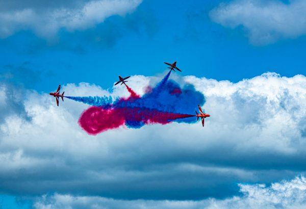 British Royal Air Force Red Arrows in Hawk T1 AircraftInternational Air Show Stewart Air Base