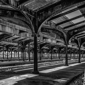 Old Lady Liberty Train Station, Liberty State Park (Black and White)