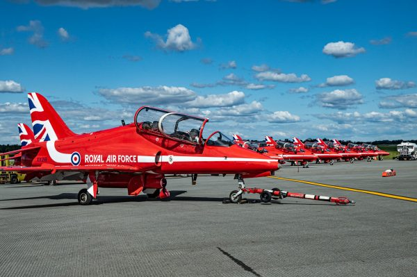British Royal Air Force Red Arrows in Hawk T1 Aircraft International Air Show Stewart Air Base