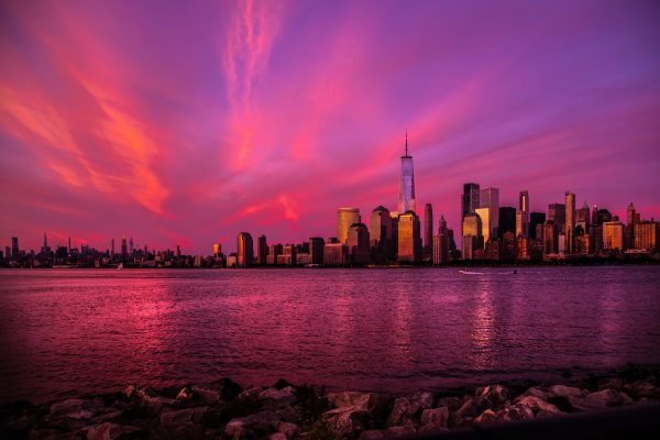 New York City Sunset, Skyline at night, Freedom Tower from Liberty State Park
