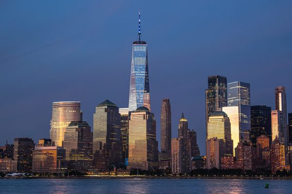 New York City Skyline at night, Freedom Tower from Liberty State Park
