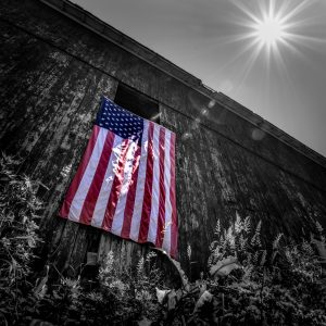 Old Red Barn with United States of America Flag (Black and White with Color Pop)