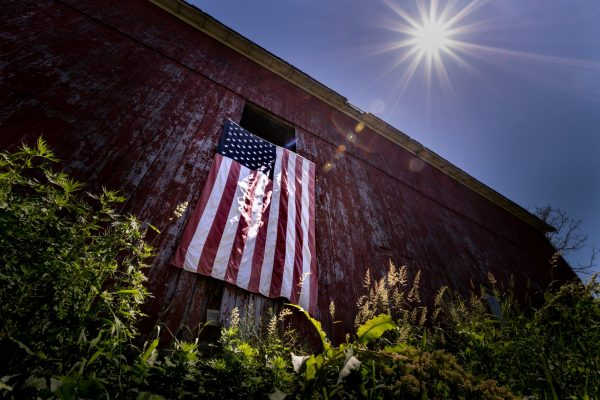 Old Red Barn with United States of America Flag