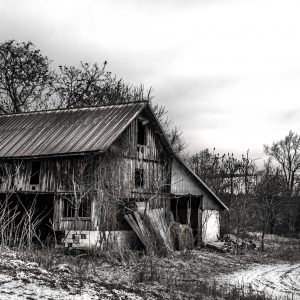 Old Rustic Barn in the Wintertime (Black and White)