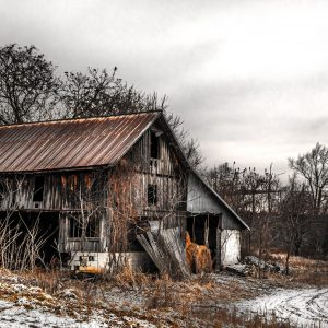 Old Rustic Barn Copper Color in the Wintertime