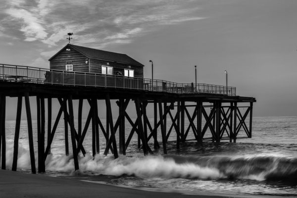 Sunrise at the Ocean, Belmar Fishing Pier, NJ Shore (Black and White)