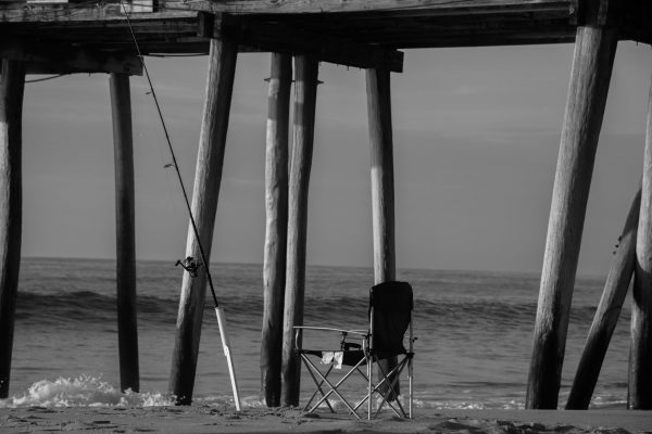 Sunrise at the Ocean, Belmar Fishing Pier, NJ Shore (Black and White) (Cropped Irregular Size)