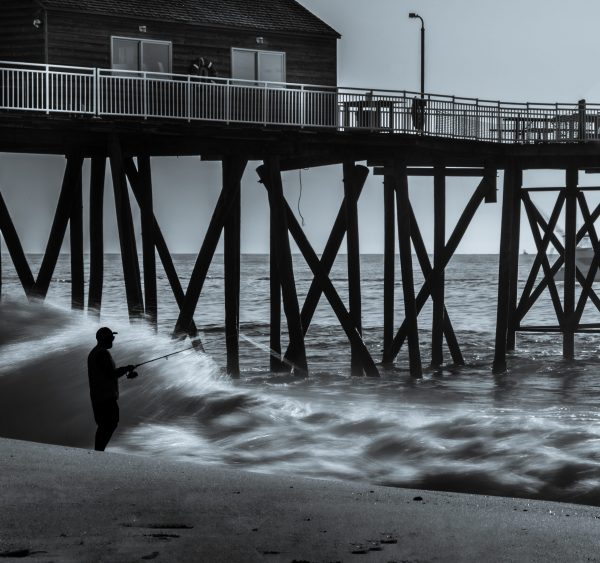 Sunrise at the Ocean, Belmar Fishing Pier, NJ Shore (Black and White)